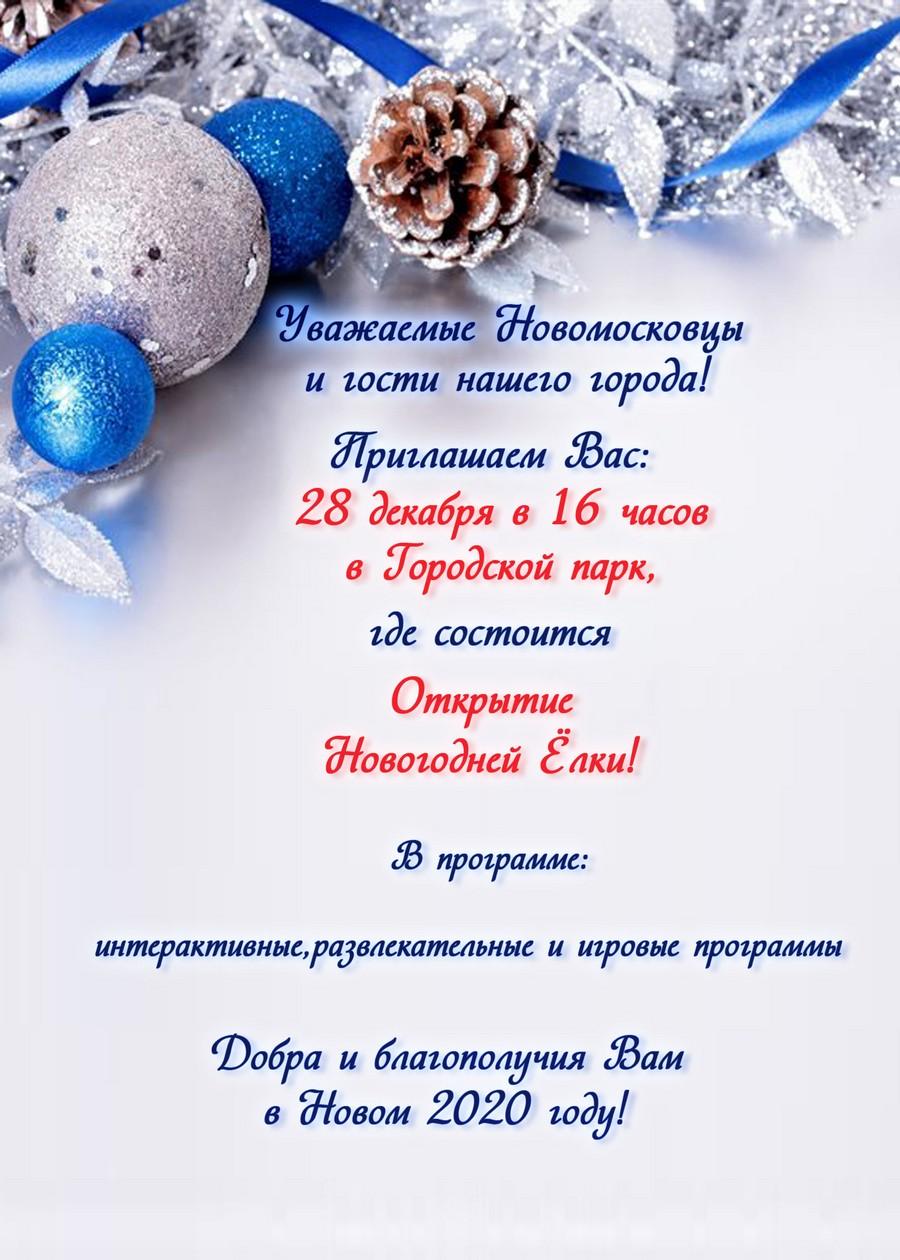 28 декабря открытие ёлки в Городском парке